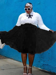Schwarzes Patchwork Grenadine Plissee flauschige Puffy Tull Plus Size Homecoming Party Rock