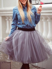 Light Grey Patchwork Pleated Grenadine High Waisted Party Tutu Skirt