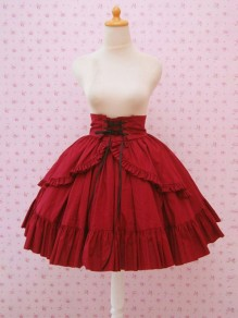 Red Patchwork Drawstring Ruffle High Waisted Court Skirt