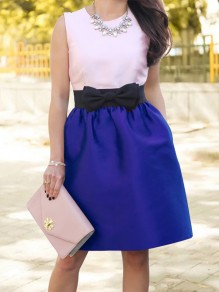 Blue Patchwork Bow Pockets High Waisted Sweet Skirt