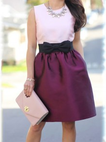 Wine Red Patchwork Bow Pockets High Waisted Sweet Skirt