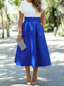 Blue Pockets High Waisted Elegant Skater A-line Skirt