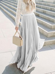 Grey Pleated Elastic High Waist Elegant Bridesmaid Prom Maxi Skirt