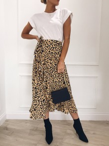 Khaki Leopard Print Ruffle Sashes Irregular Fashion Casual Midi Skirt