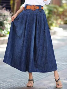 Dark Blue Belt Draped Fashion Jeans