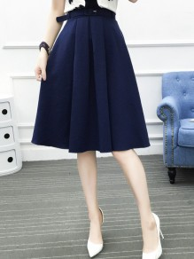 Sapphire Blue Pleated Belt High Waisted Elegant Skirt