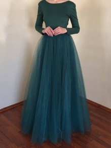Dark Green Cascading Grenadine Pleated High Waisted Elegant Wedding Prom Homecoming Party Maxi Tutu Skirt