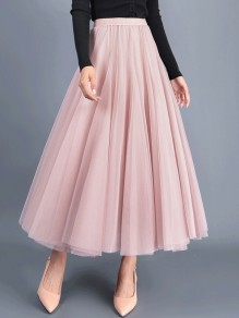 Pink Grenadine Pleated High Waisted Elegant Fluffy Puffy Tulle Skirt