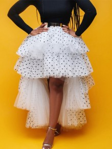 White Polka Dot Grenadine High Waisted High-low Fluffy Puffy Tulle Skirt