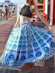 Blue Tribal Print Sashes Draped High Waisted Beach Skirt