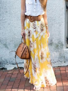 Yellow Floral Print Draped Chiffon High Waisted Bohemian Skirt