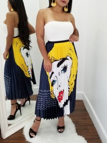 Yellow Cartoon Avatar Print High Waisted Homecoming Party Skirt