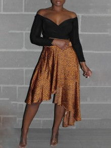 Golden Leopard Print Ruffle Irregular High-low Casual Skirt