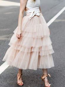 Pink Ruffle Pleated Layers Of Grenadine Fluffy Puffy Tulle Chiffon Sweet Cake Skirt