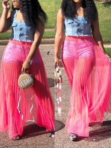 Red Grenadine Pleated Sheer High Waisted Flowy Bikini Cover Up Beach Long Skirt