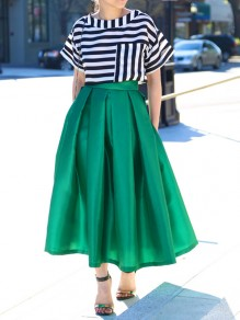 8cabeb95d3 Green Pleated Pocket Below Knee Loose Fashion Skater Homecoming Party Midi  Skirt