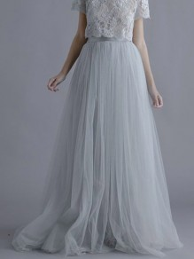 Grey Grenadine Pleated Elastic Waist Fluffy Puffy Tulle Tutu Homecoming Wedding Long Skirt