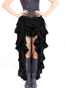 Black Cascading Ruffle High-Low Vintage Cosplay Party Women Pirate Skirt