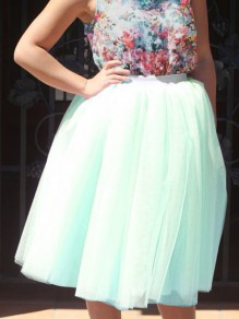 Mint Green Layers Of Grenadine Adorable Tulle Tutu Elastic Waist High Waisted Below Knee Homecoming Skirt