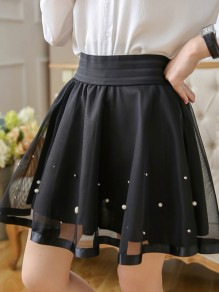 Black Pearl Layers Of Grenadine Lace Pleated Cute Adorable Homecoming Party Short Skirt