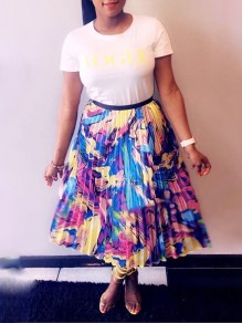 Multicolor Colorful Tie Dye Print High Waisted Tutu Pleated Casual Skirt