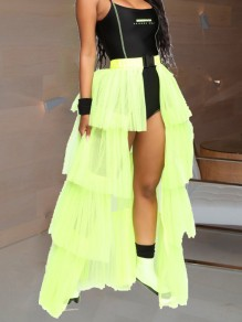Neon Green Patchwork Layers Of Grenadine Buckle Belt Slit High Waisted Hot Clubwear Adorable Tulle Tutu Maxi Skirt