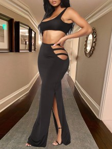 Black Cut Out Double Slit Bodycon Clubwear High Waisted Cusual Maxi Skirt