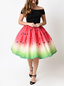 Red Watermelon Print High Waisted Pleated Tutu Cute Midi Skirt