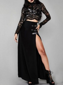 Black Irregular Belt Side Slit High Waisted Witchcraft Gothic Long Skirt