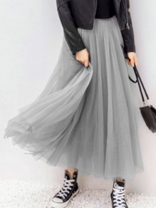 Grey Grenadine Elastic Waist High Waisted Sweet Tulle Tutu Maxi Skirt