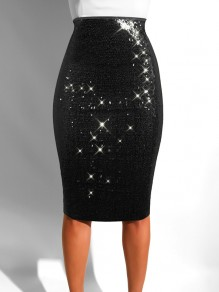 Black Sequin High Waisted Glitter Sparkly Birthday Party Hip Bodycon Work Midi Skirt