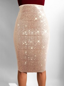 Apricot Sequin High Waisted Glitter Sparkly Birthday Party Hip Bodycon Work Midi Skirt