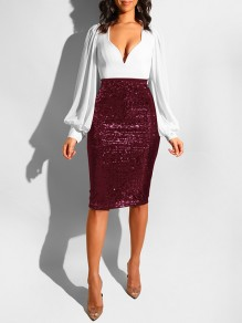 Burgundy Sequin High Waisted Glitter Sparkly Birthday Party Hip Bodycon Work Midi Skirt