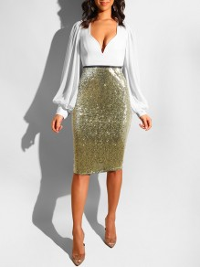 Golden Sequin High Waisted Glitter Sparkly Birthday Party Hip Bodycon Work Midi Skirt