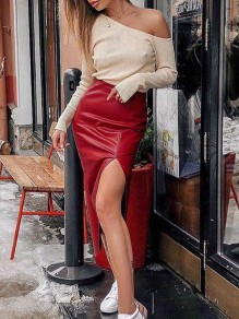 Red Zipper High Waisted Slit PU Leather Vinyl Work Midi Skirt