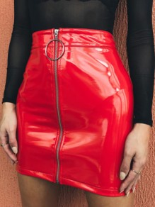 Red Zipper PU Leather Vinyl High Waisted Hip Bodycon Mini Skirt