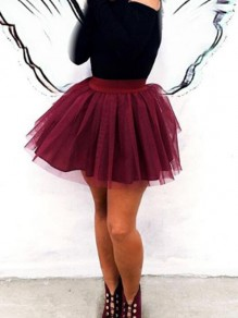 Burgundy Grenadine High Waisted Skater Homecoming Party Puffy Tulle Tutu Short Skirt