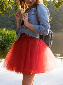 Red Grenadine Pleated High Waisted Fashion Tulle Tutu Skirt