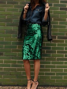 Green Sequin Glitter Sparkly Bodycon High Waisted Cocktail Party Skirt
