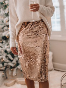 Golden Patchwork Sequin High Waisted Glitter Sparkly Fashion Skirt