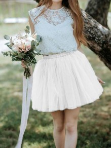 Jupe grenadine taille haute grande taille patineuse taille haute tutu homecoming party short blanc