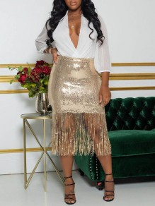 Golden Patchwork Sequin Tassel High Waisted Hip Bodycon Glitter Sparkly Birthday Party Midi Skirt