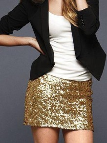 Golden Schwarz Pailletten Glitzer High Waisted Bodycon Enges Cocktailrock Silvester Minirock Damen Mode