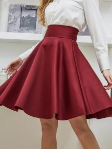 Burgundy Patchwork Pleated High Waisted Knee Length Elegant Cute Prom Homecoming Party Skater Skirt