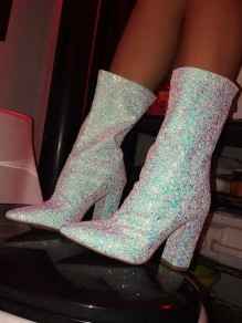 Blue Point Toe Chunky Sequin Sparkly Fashion Wedding Prom Ankle Boots
