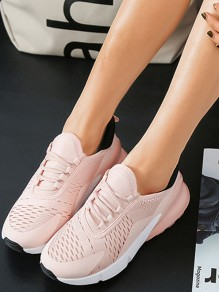 Pink Round Toe Flat Cut Out Cross Strap Casual Shoes