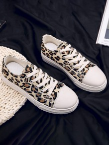 Brown Round Toe Flat Leopard Casual Shoes