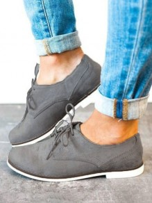 Grey Round Toe Flat Casual Shoes