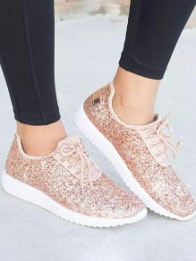 Champagne Round Toe Flat Sequin Fashion Shoes