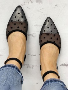 Black Point Toe Flat Polka Dot Print Fashion Shoes